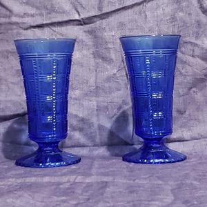 A Pair of Vintage cobalt blue parfait glasses
